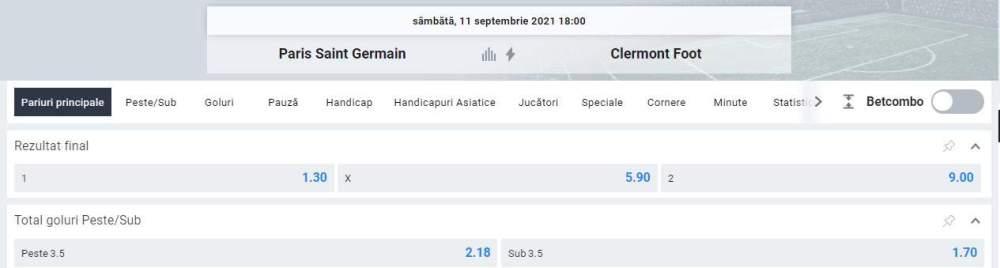 Ponturi pariuri PSG vs Clermont