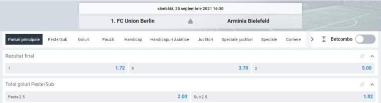 Ponturi pariuri Union Berlin vs Bielefeld