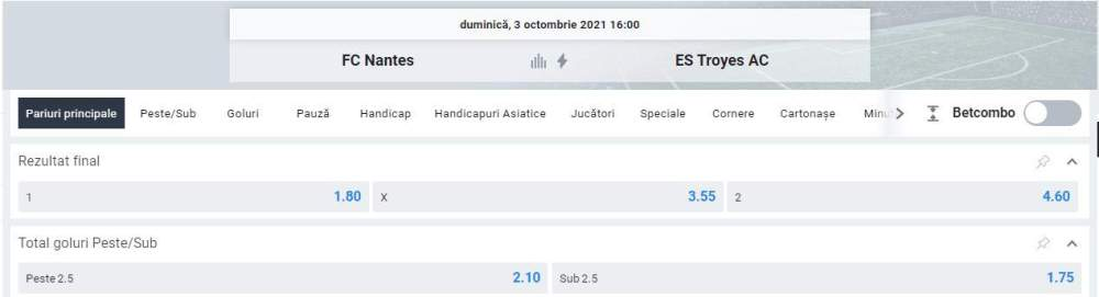 Ponturi pariuri Nantes vs Troyes