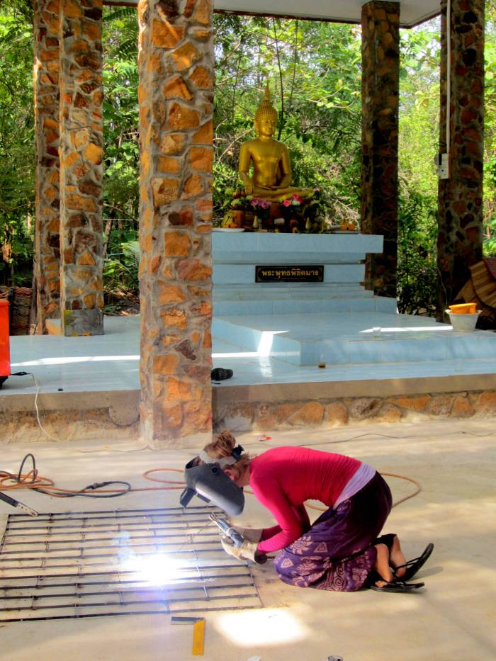 Welding for the Mindfulness Project's jungle monastery near Khon Kaen, Thailand