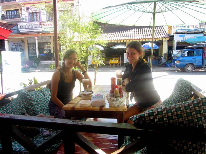 At one of the many TV cafes in Vang Vieng Laos