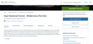 Explore Available Permits on Recreation.gov - Inyo National Forest Wilderness Permits