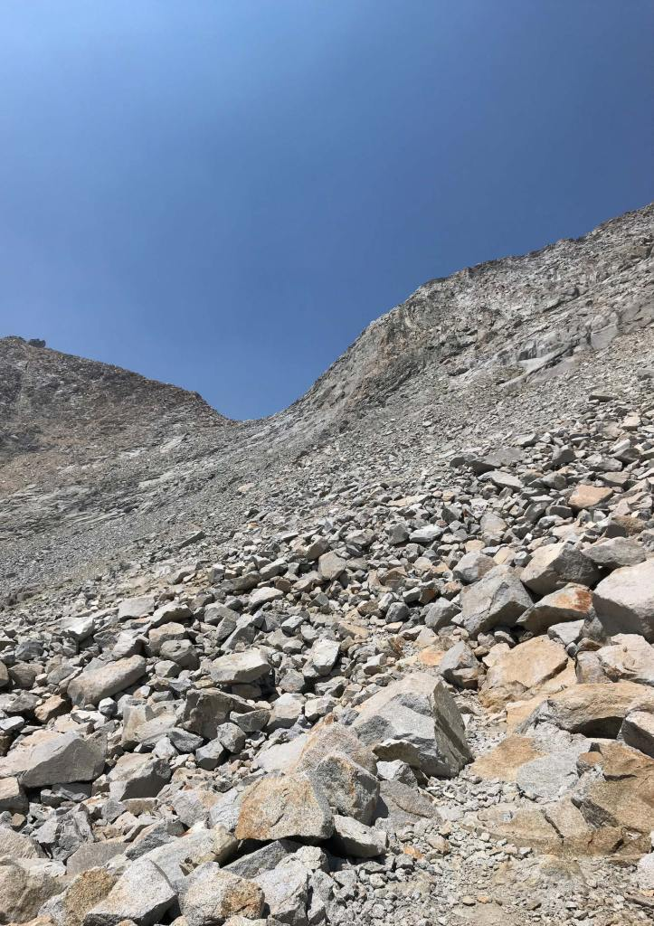 This is the view facing up the south side of Mather Pass.