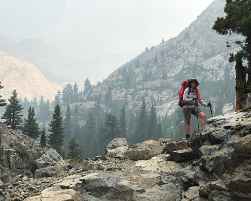 Smoke fills the corridor and obscures the mountains as we hike through Goddard Canyon above the San Joaquin River.