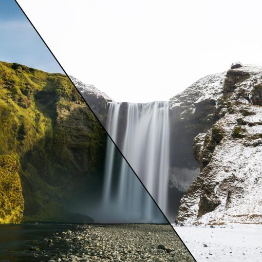 Skogafoss Summer vs. Winter