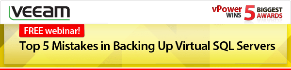 FREE webinar! Top 5 Mistakes in Backing Up Virtual SQL Servers