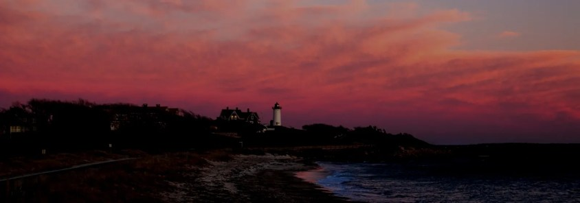 Nobska Lighthouse Hero 2- Cape Cod Winter, Dark Background