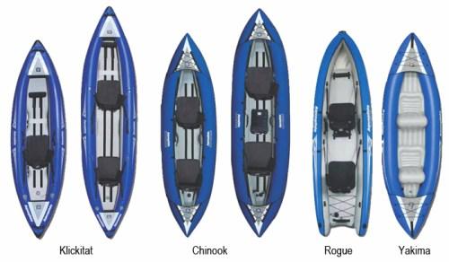 New Klickitat, Rogue, Yakima and Chinook Inflatable Kayaks from Aquaglide
