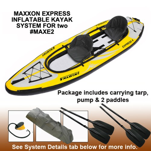 Maxxon Express II Inflatable Kayak System with paddles and pump.