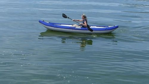 Paddling the Chinook Tandem as a solo.