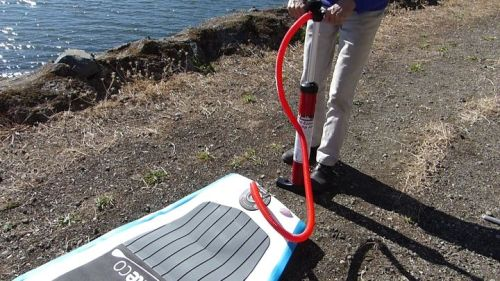 Pumping up the Red Paddle Co Sport 11 inflatable SUP