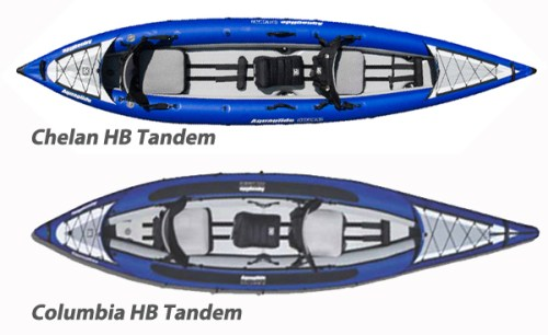 AquaGlide Chelan HB Tandem XL Inflatable Kayak vs Columbia Tandem HB