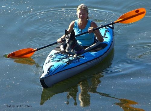 Canine paddling buddy in an Advanced Elements kayak
