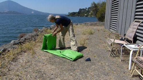 Folding up the kayak.