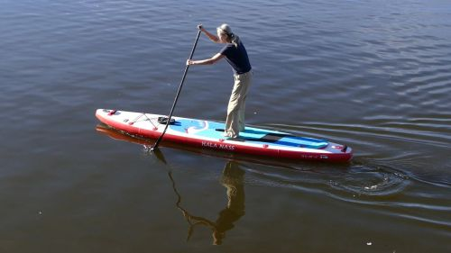 Hala Carbon Nass inflatable SUP on the water.