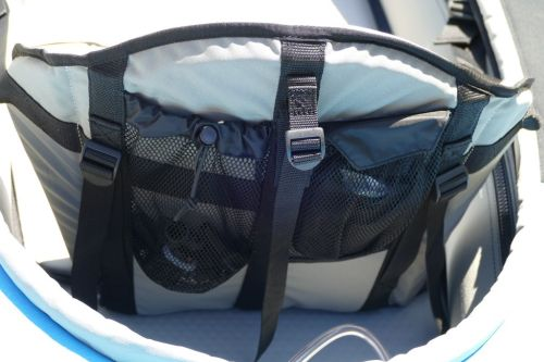 Mesh pockets behind the seat with ladder locks and d-ring