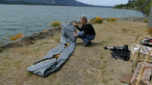 Unfolding the kayak.