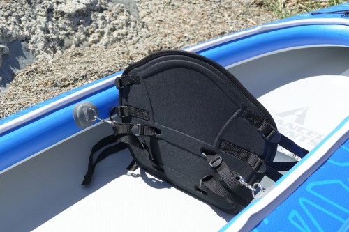 Strap attachments on seat.