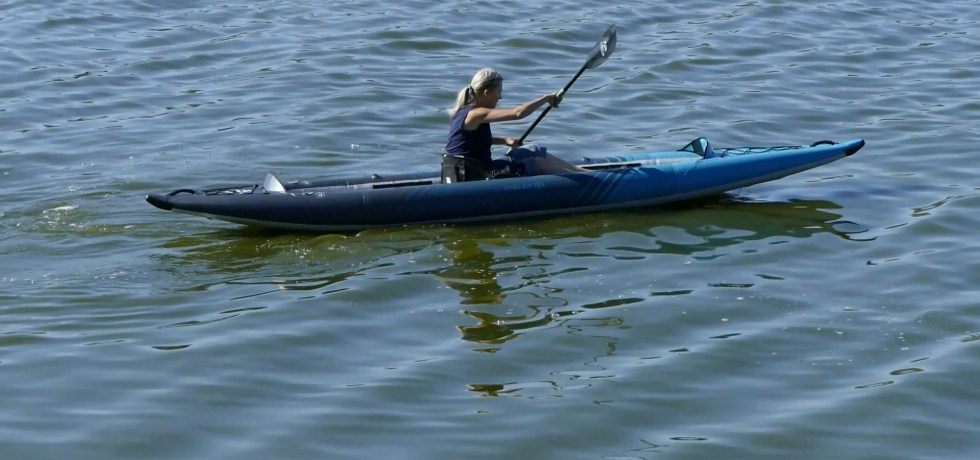Aquglide Chelan 155 HB XL Inflatable Kayak - On the Water