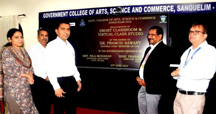 ON COMPLETION OF 100 DAYS AS GOA CM – PRAMOD SAWANT LAUNCHES SMART CLASSROOMS IN GOVERNMENT COLLEGE AT SANKHALI