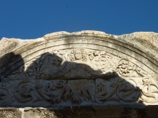 Medusa carving on entrance to Temple of Hadrian, Ephesus