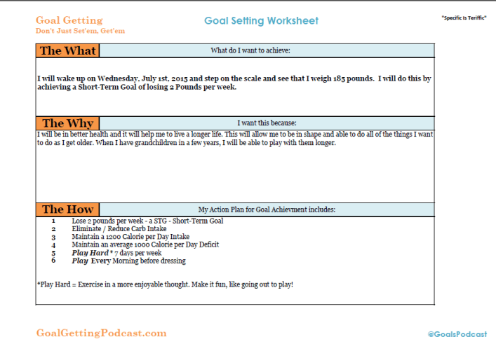 Goal Getter Goal Setting Worksheet - Goal Getting Podcast