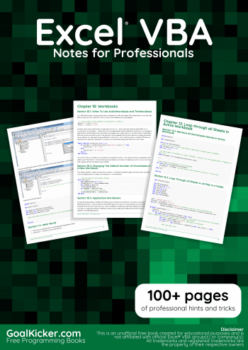 Excel Vba Notes For Professionals Book