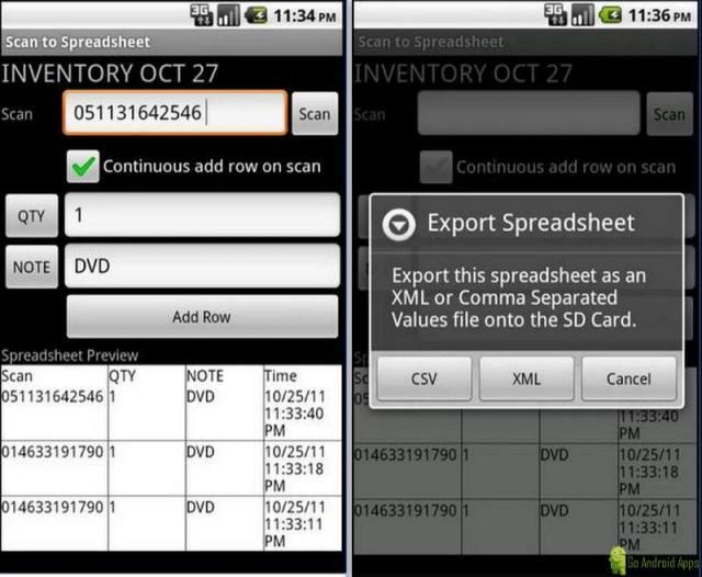 Scan to Spreadsheet App
