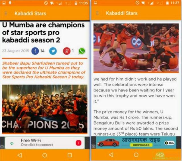 Pro Kabaddi Stars App