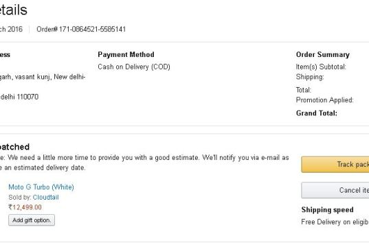 Moto G Turbo Order Details on Amazon