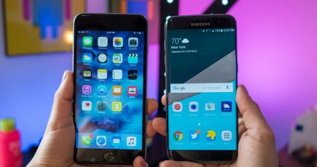Samsung Galaxy S7 Edge vs iPhone 6s Plus Display