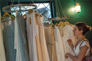 Lucie Masson while having a look at the collection