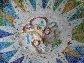 BARCELONA, SPAIN Mosaic ceiling in Park Güell