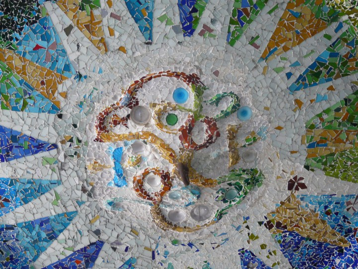 BARCELONA, SPAIN Mosaic ceiling in Park Güell