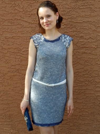 Blue knit dress 1