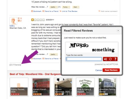 Yelp filtered click CAPTCHA