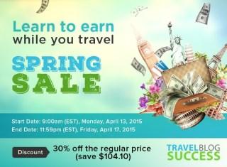 Spring Sale: Save 30% on Travel Blog Success