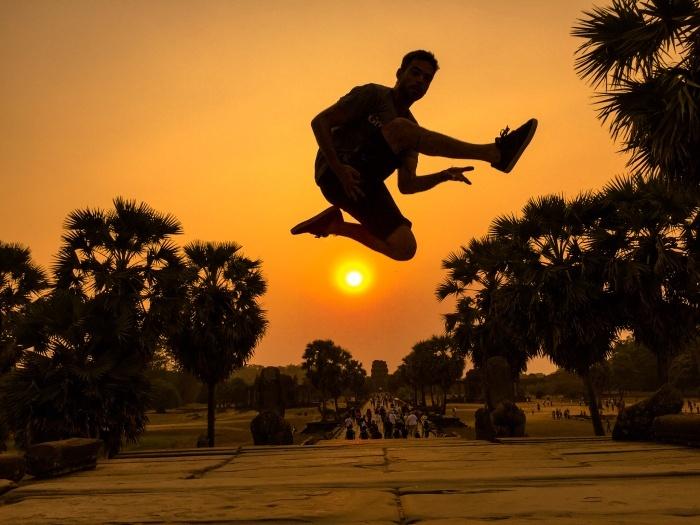 Sean Hayes - Sunset Ninja Jump - Angkor Wat Temple