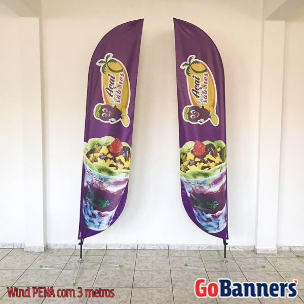 Wind Banner PENA com 3 metros frente e verso - Acai Doces Sabores