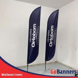 wind flag banner com 3 metros ortobom