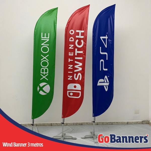 wind flag banner com 3 metros xboxone nintendo ps4