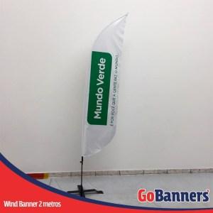 wind flag banner com 2 metros mundo verde