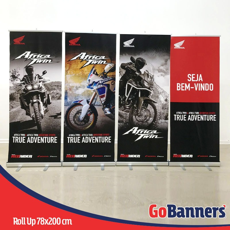 porta banner roll up retratil medidas honda africa twin