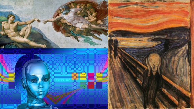 Trio of pictures by Michelangelo, Munch, and Geralt Public Domain