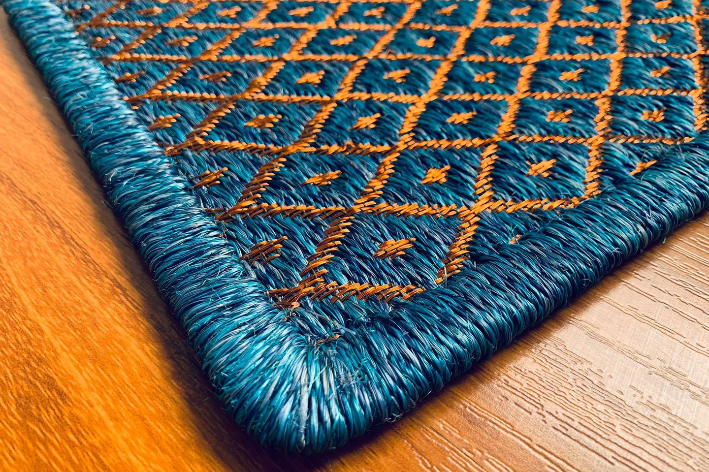 Gôbelins | Tapete Atlante | Gobelins Tapetes Artesanales Atlante Fique azul e hilos de cobre