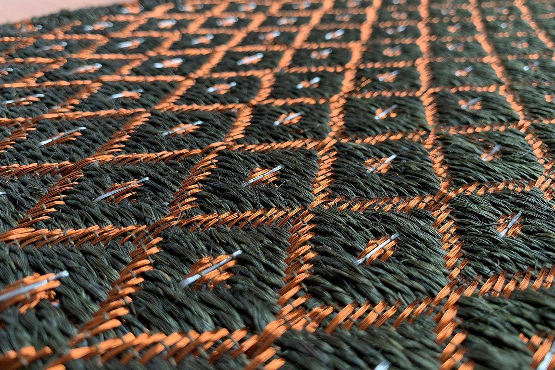 Gôbelins | Tapete Atlante | Gobelins Tapetes Artesanales Atlante Fique verde e hilos de cobre