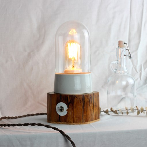 Rustic wood table lamp with upcycled glass cover - Edison style T45