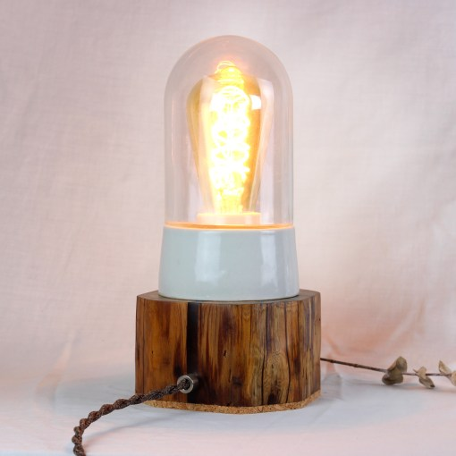 Rustic wood table lamp with upcycled glass cover - Osram Vint. Edison