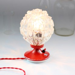 Rewired mid century vintage red table lamp
