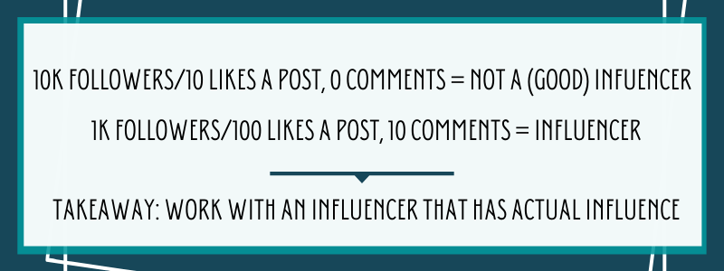Work with an influencer that has actual influence